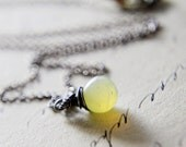 Holiday Sale October Birthstone Necklace Yellow Opal Sterling Silver Wire Wrapped Cyber Monday