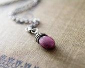 Ruby Necklace Sterling Silver July Birthstone Wire Wrapped Oxidized Gray Crimson Red Fuchsia Under 50 Gifts Fashion