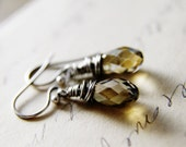 Crystal Earrings Silver Brown Earth Tones