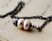 Peach Pearl Necklace Freshwater Peach Button Pearls Oxidized Sterling Silver Fashion