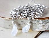 Frost Earrings Filigree Silver Crystal Opal Winter Dangle