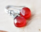 Drop Earrings, Gemstone Earrings, Chalcedony Earrings, Chalcedony Jewelry, Dangle Earrings, Gemstone Jewelry, Orange, Autumn, PoleStar