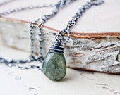 Moss Necklace Silver March Gemstone Jewelry Rustic Pendant