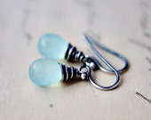Sky Blue Earrings Chalcedony Wire Wrapped Dangle Sterling Silver Pastel Spring Fashion