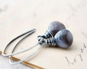 Botswana Agate Earrings Stormy Gray Taupe Sterling Silver White Earthy Fashion Dangle Wire Wrapped