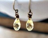 Butter Yellow Crystal Earrings Yellow Buttercup Pastel
