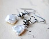 June Birthstone Pearl Earrings Sterling Silver Freshwater Pearls Keishi Ivory Pearl Pyrite under 50 Fashion