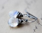 Moonstone Earrings Oxidized Sterling Silver Glowing Lunar Light White Dainty Jewelry under 50 Fertility Fashion