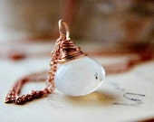 June Birthstone Gemstone Jewelry Rainbow Moonstone Rose Gold Necklace  Wire Wrap White Fertility Fashion Galaxy Celestial