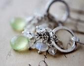 Prehnite Moonstone Gemstone Jewelry Earrings Silver Mint Dangle PoleStar