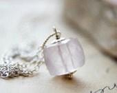 Gemstone Jewelry Rose Quartz Necklace Cube Geometric Square Sterling Silver Pastel Pink PoleStar