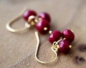 July Birthstone Ruby Earrings Gemstone Jewelry Gold Dangle PoleStar Silk Road