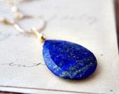 SALE Lapis Lazuli Necklace Gemstone Jewelry Cobalt Blue Pendant