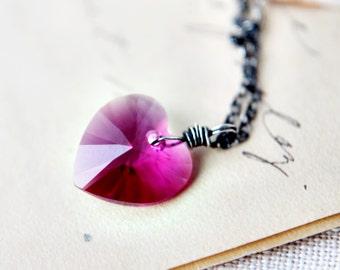 Crystal Necklace, Crystal Heart, Heart Necklace, Swarovski Crystal, Swarovski Heart, Wire Wrapped, Sterling Silver, Fuchsia, Pink, PoleStar