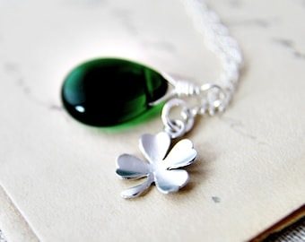 Clover Necklace, Shamrock Necklace, Charm Necklace, Glass Necklace, Glass Pendant, Sterling Silver, Emerald Green, Lucky Necklace, PoleStar