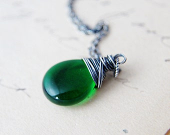 Glass Necklace, Wire Wrapped, Glass Pendant, Czech Glass, Emerald Green, Grass Green, May Birthday, saint patrick, PoleStar