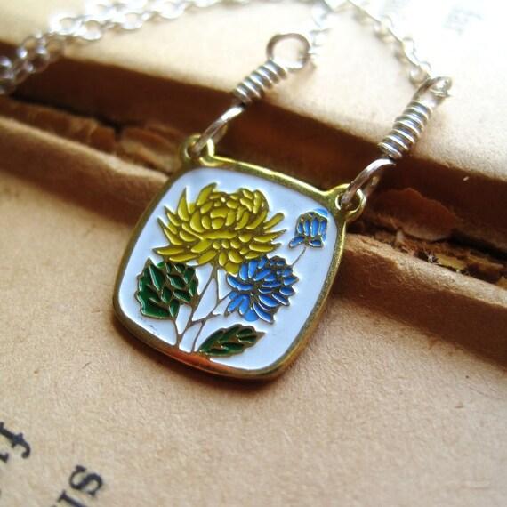 Necklace Vintage Enameled Cloisonne Flower Charm on Sterling Silver, Flora