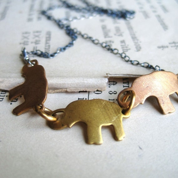 Connection Necklace - Vintage Brass Elephant Charms on Oxidized Sterling Silver