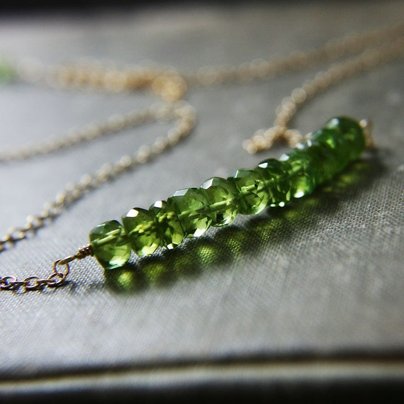 Peridot Necklace August Birthstone Green Pendant