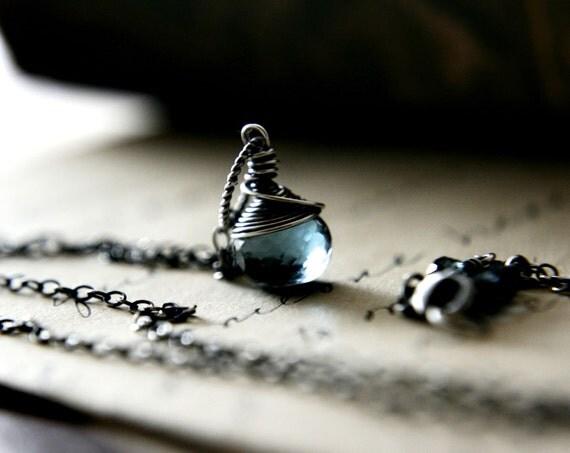 London Blue Topaz Necklace Gemstone Jewelry December Pendant PoleStar