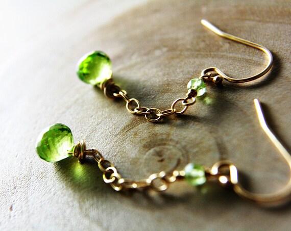 Peridot Earrings August Birthstone Prehnite14K Gold Fill Fashion