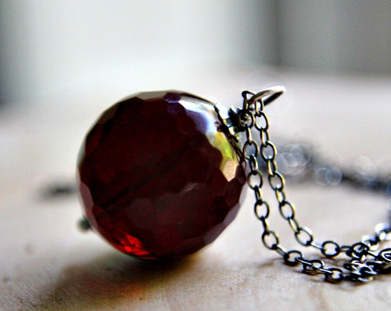 RESERVED Blood Red Necklace Glass Silver
