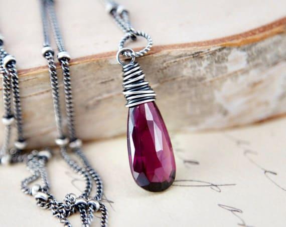 January Necklace Gemstone Jewelry Garnet Crimson Pendant