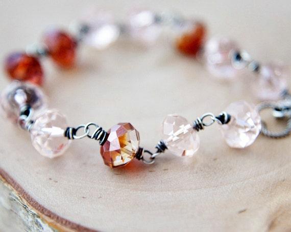 SALE Jewelry  Crystal Bracelet Silver Peach Magma Orange PoleStar