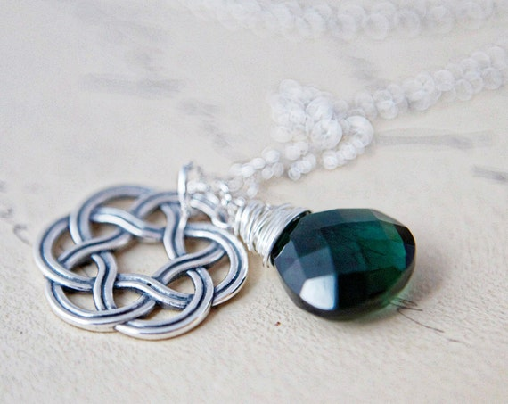 Celtic Knot Necklace Silver Charm Emerald Green Pendant
