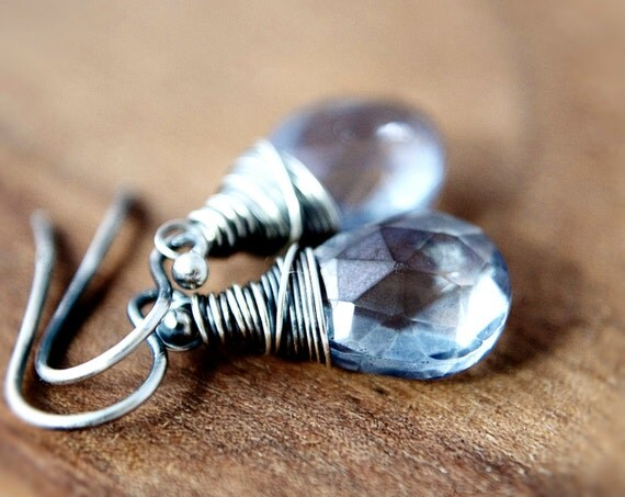Rainy Day Earrings Blue Quartz Sterling Silver Wire Wrapped Denim Water Gemstone Fashion