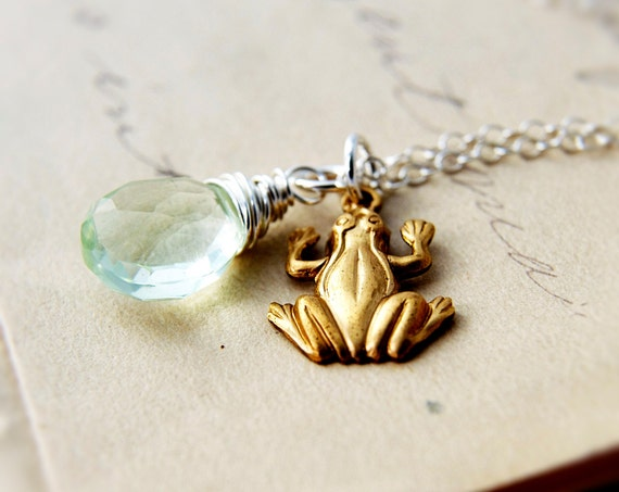 Frog Necklace Green Amethyst Silver Brass Spring Pendant