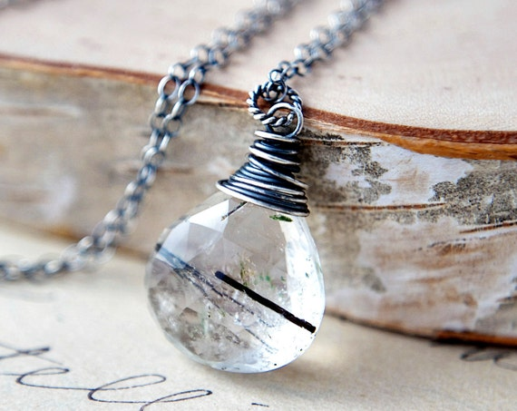 Rainy Day Necklace Tourmalinated Quartz Briolette Wire Wrapped Sterling Silver Black and White Fashion