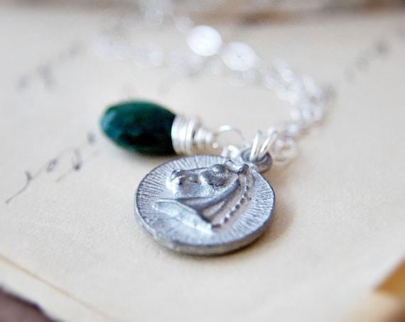 Kentucky Derby Necklace Horse Race Silver Emerald Pendant