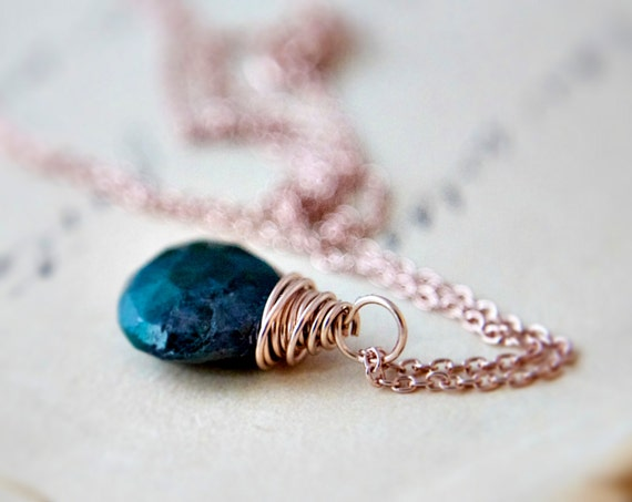 Emerald Necklace Rose Gold Pink May Birthday Kelly Green Stone Wire Wrap Pendant Fashion