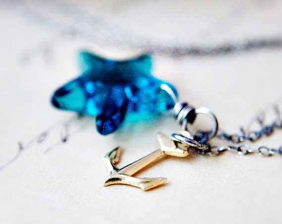 Anchor Necklace, Crystal Necklace, Crystal Pendant, Wire Wrapped, Gold Anchor, Sterling Silver, Blue Starfish, Nautical Pendant, PoleStar
