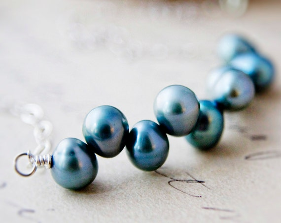 June Birthstone Freshwater Pearl Necklace Teal Blue Pendant