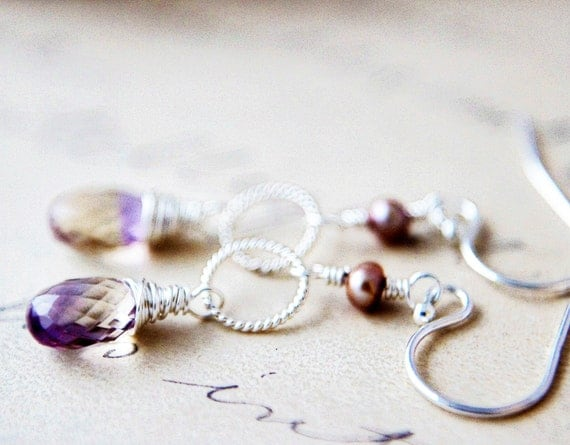 Ametrine Earrings Sterling Silver Dangle Wire Wrapped Stone Freshwater Taupe Pearl Lilac Yellow