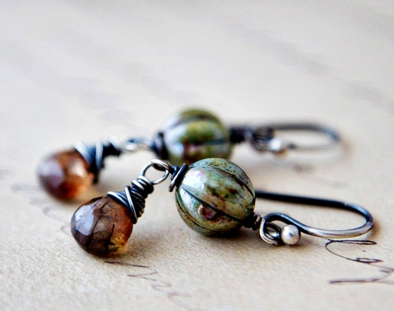 Sage Rustic Andalusite Earrings Brown Stone Green Glass Sterling Silver Earth Tones Garden Inspired