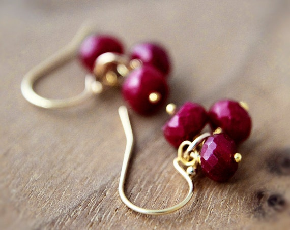 July Birthstone Ruby Earrings Gemstone Jewelry Gold Dangle PoleStar Silk Road