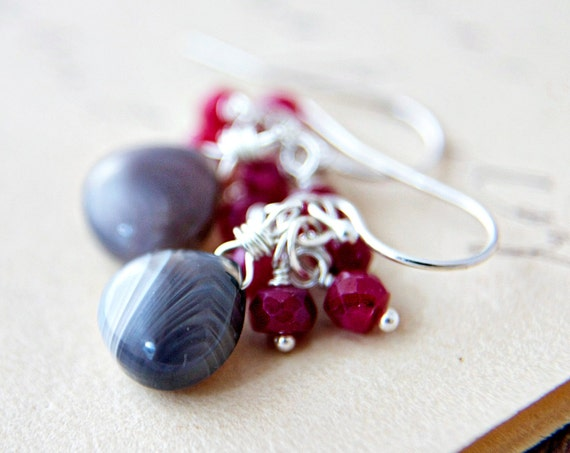 Botswana Agate Ruby Earrings Gray Red Berries July