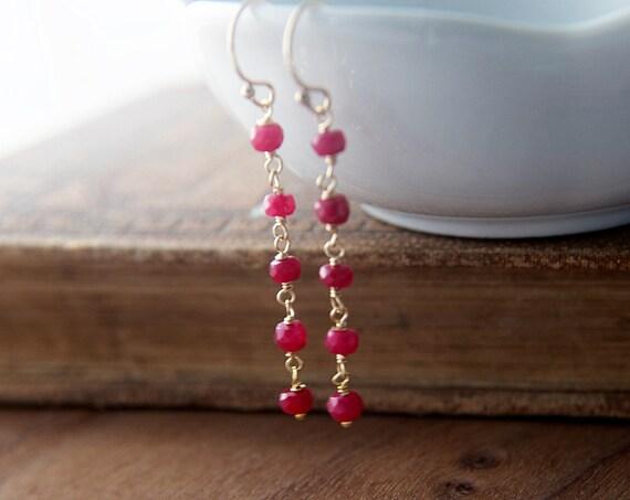 Ruby Earrings, Dangle Earrings, July Birthstone, Ruby Red, Wire Wrapped, 14K gold filled, gold earrings, Gemstone Earrings, Drop Earrings
