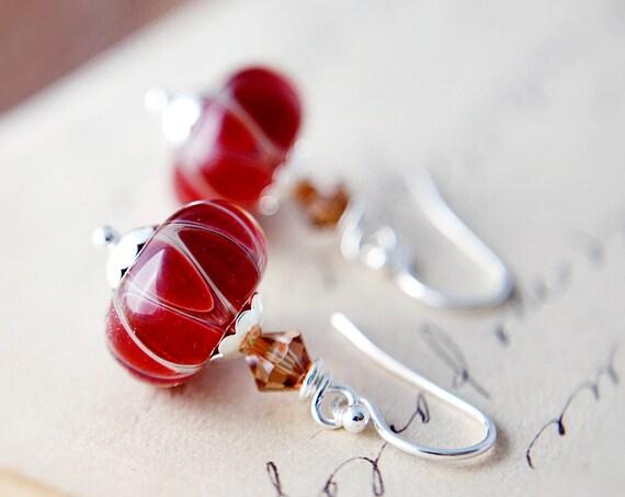 Cyber Monday Etsy Earrings Jewelry Black Friday  Red Lamp Work Glass Swirl Earrings Silver Dangle