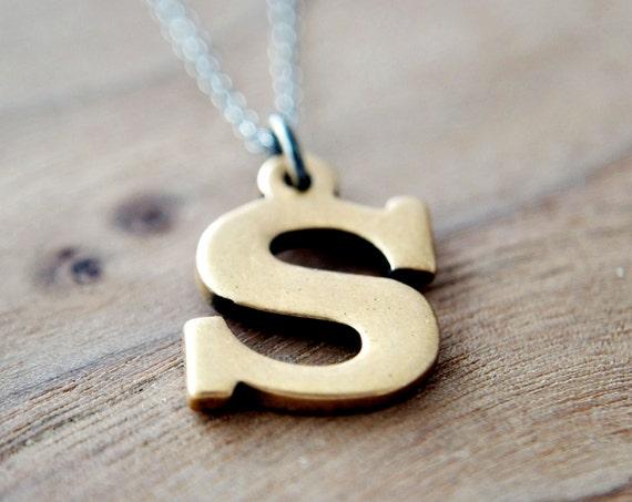 Letter Necklace Alphabet S Vintage Brass Silver