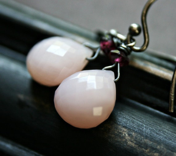 Libretto Earrings - Faceted AA Pink Opal and Garnet on Oxidized Sterling Silver