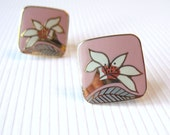Vintage Laurel Burch Earrings - Wild Lily - White Lily Flowers - Pink