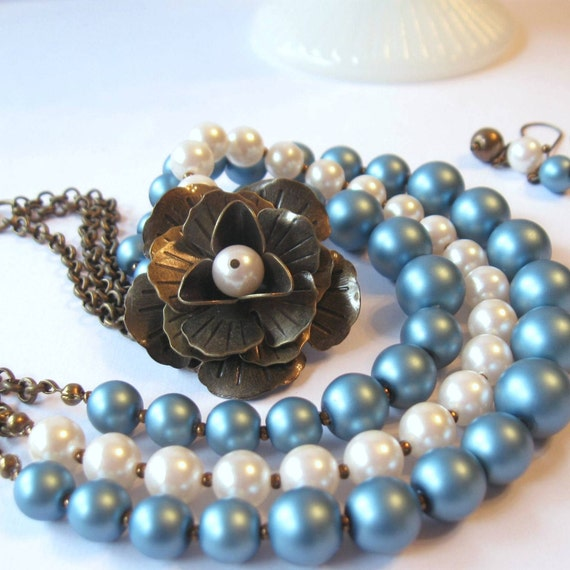 Aqua Pearl Necklace, Triple Strand with Antiqed Brass Rose Brooch