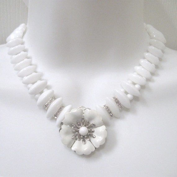 Flower Wedding Necklace with Vintage Earring Pendant - Vintage White Milk Glass Beads and Silver