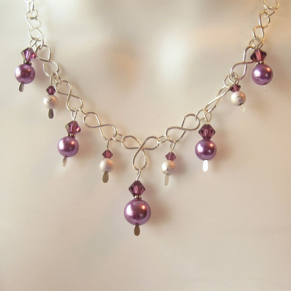 Purple Pearl Crystal Necklace Set - Wire Work Jewelry - Vintage Purple Glass Pearls