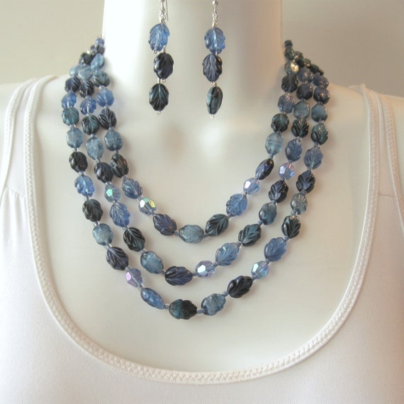 Leaf Necklace Set - Triple Strand - Blue Glass Beads - Vintage West Germany Leaf Beads - Upcycled