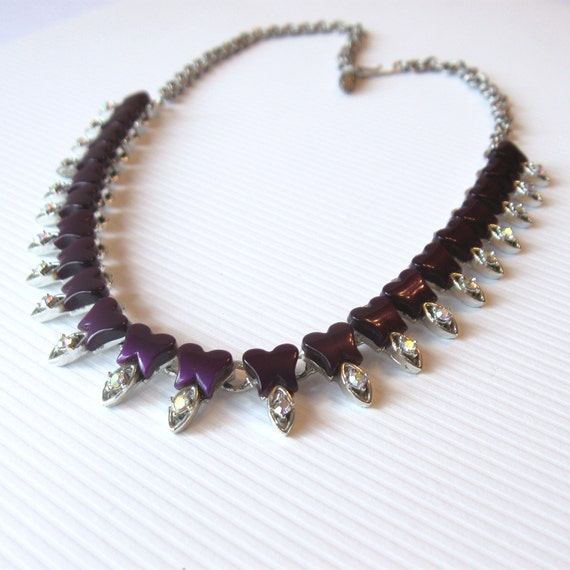 Vintage Purple Thermoset Necklace Choker with AB Rhinestones, Purple Tulips in Silver tone